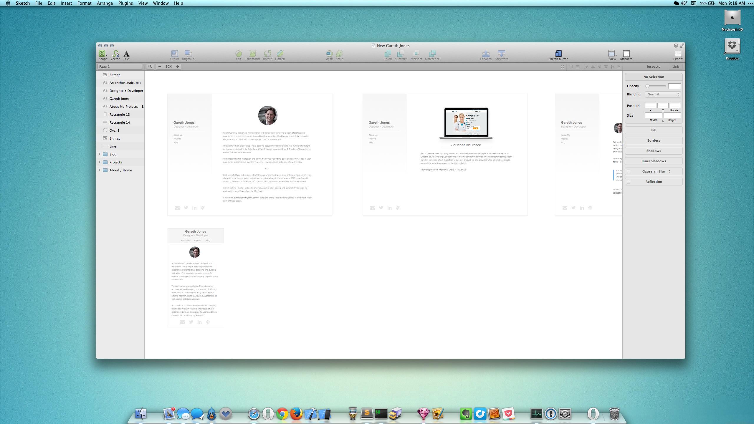 Designing my Website in Sketch